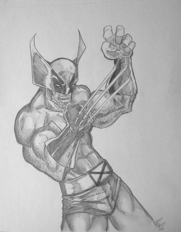 wolverine cartoon character sketches20