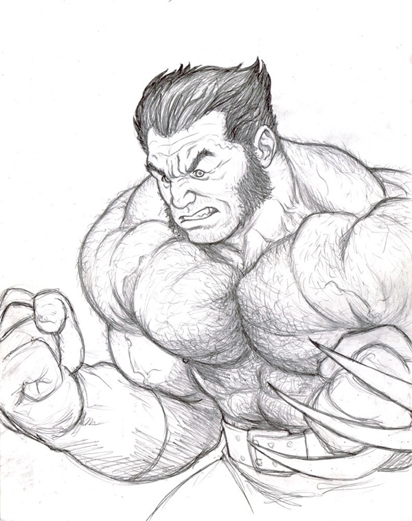 wolverine cartoon character sketches30