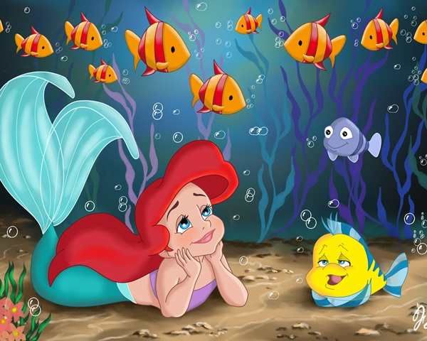 cute little mermaid wallpaper