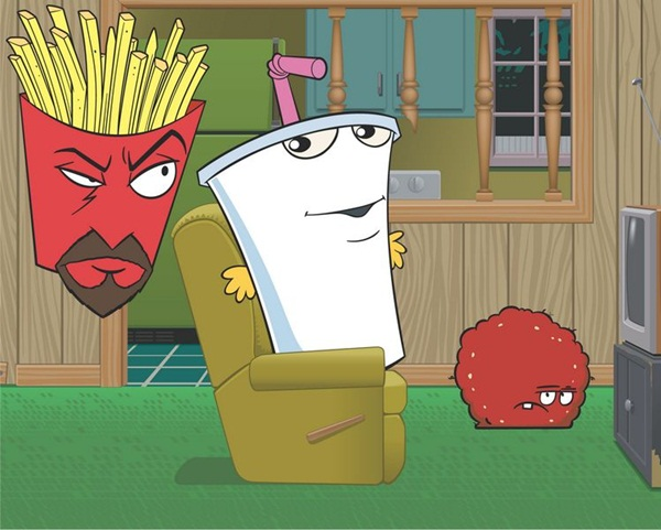"cast of ""aqua teen hunger force"" relax in the den cartoon network photo"