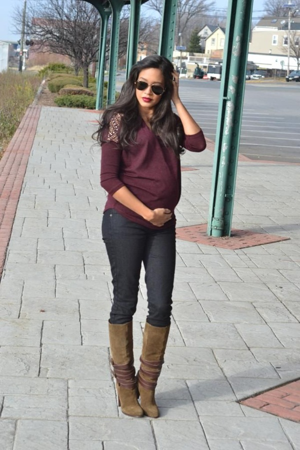 Pregnant Fashion Winter Outfits29