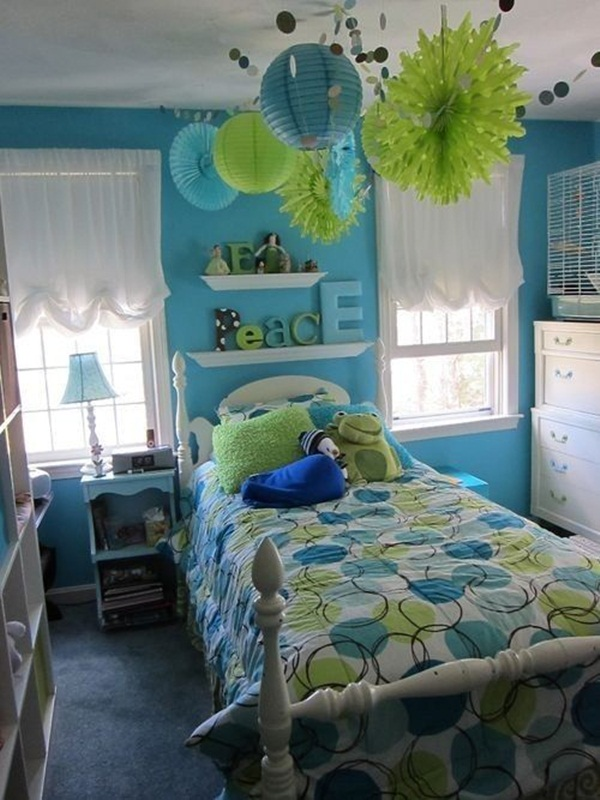 45 teenage girl bedroom ideas and designs cartoon district for Blue and green girls bedroom ideas