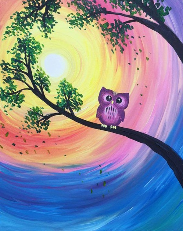 40 easy acrylic painting ideas for beginners to try for Night owl paint color