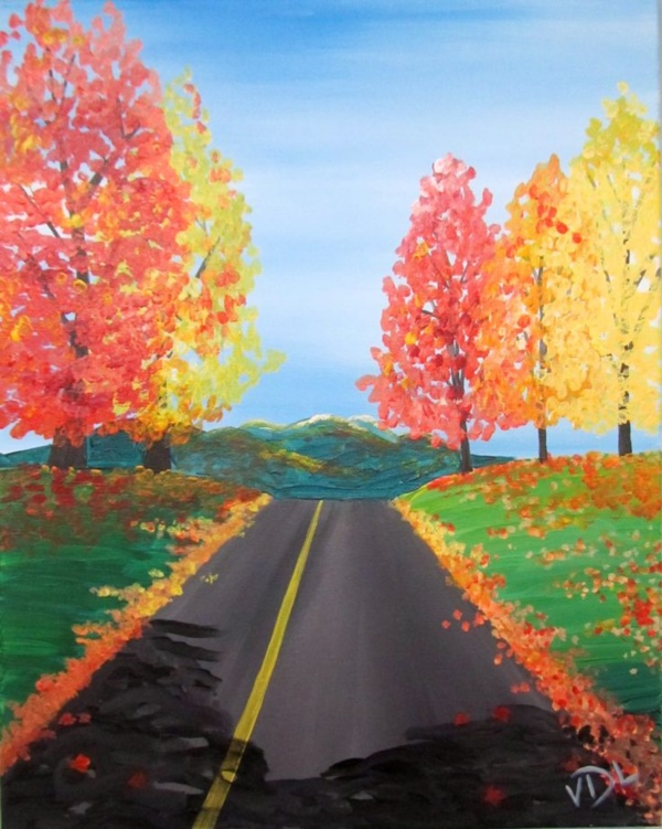 90 easy canvas painting ideas for beginners for Fall paintings easy