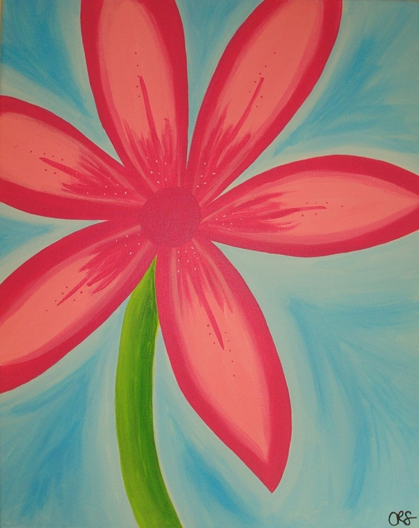 90 easy canvas painting ideas for beginners for Simple flower paintings for beginners