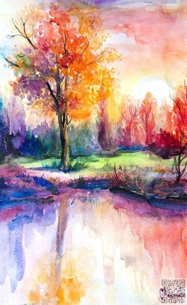 60 easy watercolor painting ideas for beginners for Watercolor easy ideas