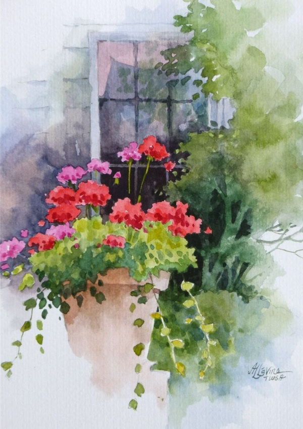 80 easy watercolor painting ideas for beginners for Simple flower paintings for beginners