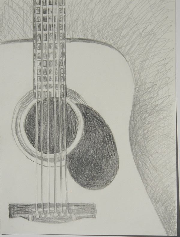 Realistic Guitar Charcoal Work Drawing by Kaushik Varma |Charcoal Art Drawings Music
