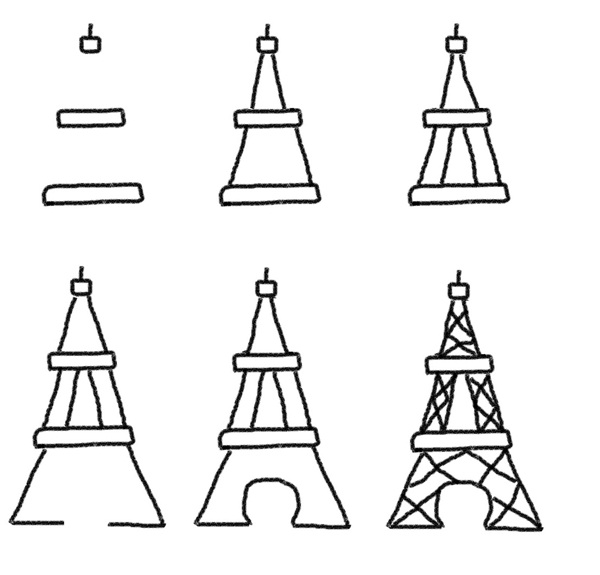 drawing an eiffel tower may seem hard to you especially to the beginners as its got plenty of lines and patterns but with the little bit of practicing