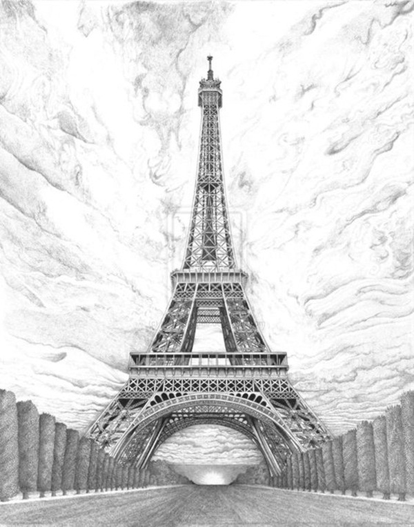 Eiffel Tower Pencil Sketch 42 So Beautiful Eiffel...