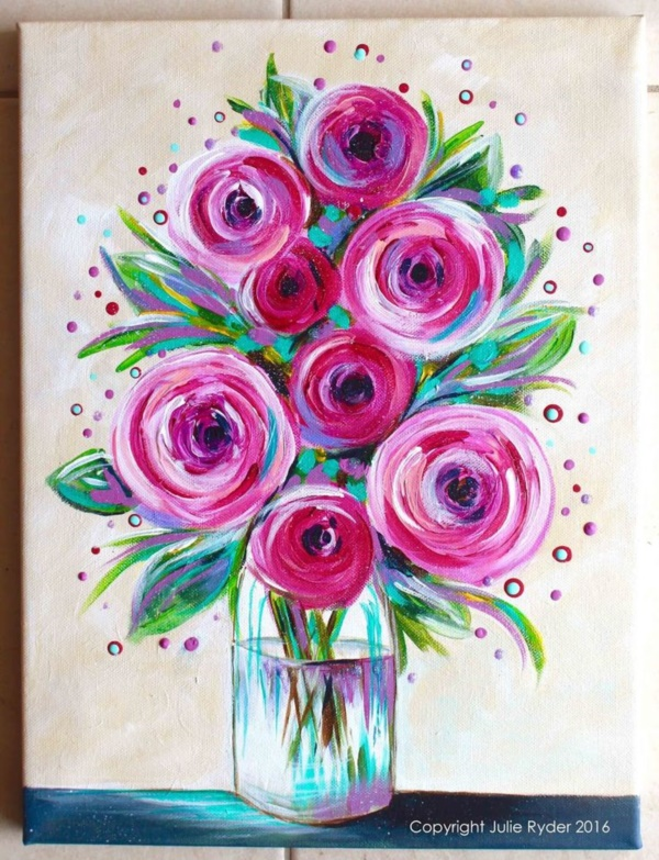 42 simple acrylic canvas painting ideas for beginners for Simple flower paintings for beginners