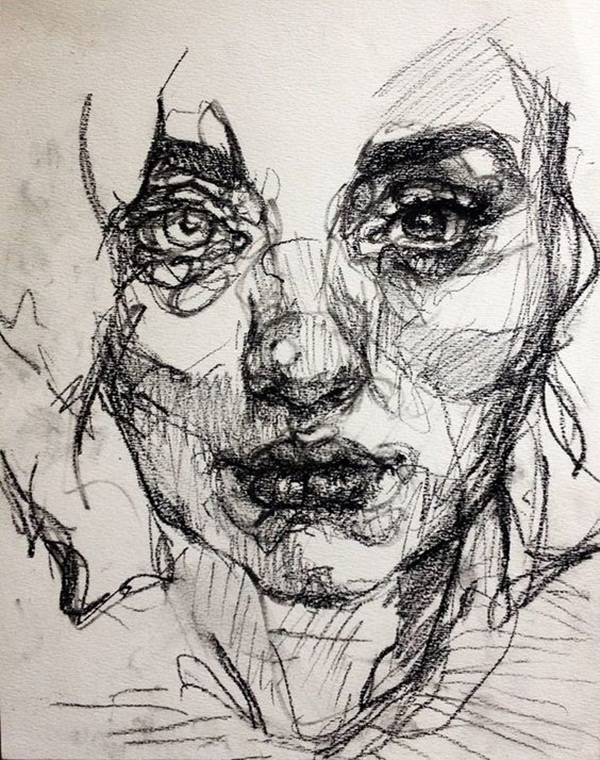 Continuous Line Drawing Face : Artistic charcoal painting and sketches for beginners