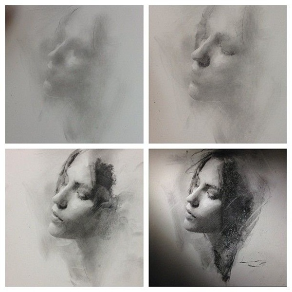 42 artistic charcoal painting and sketches for beginners for Portrait painting tutorial