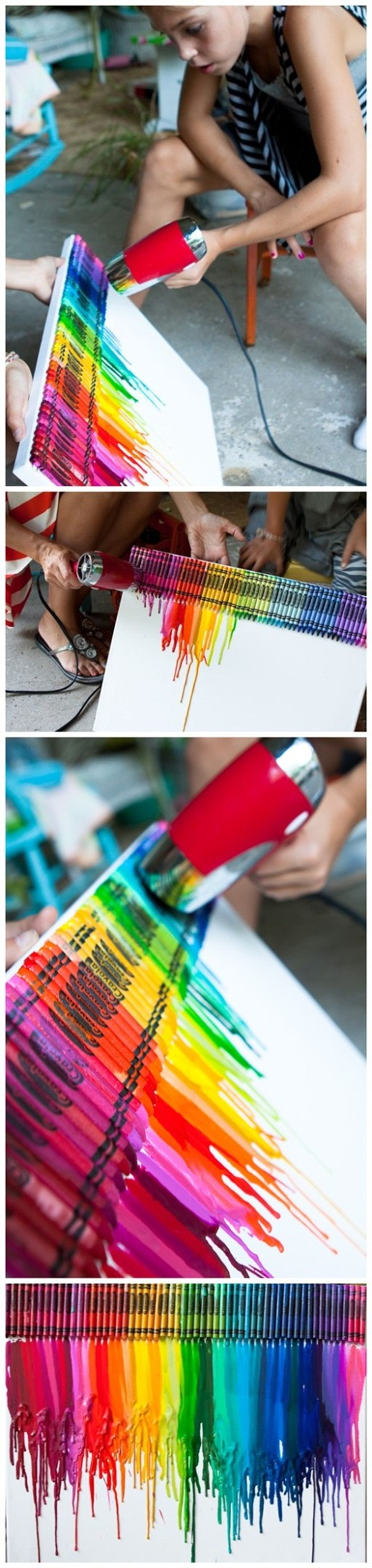 how to make crayon art on canvas