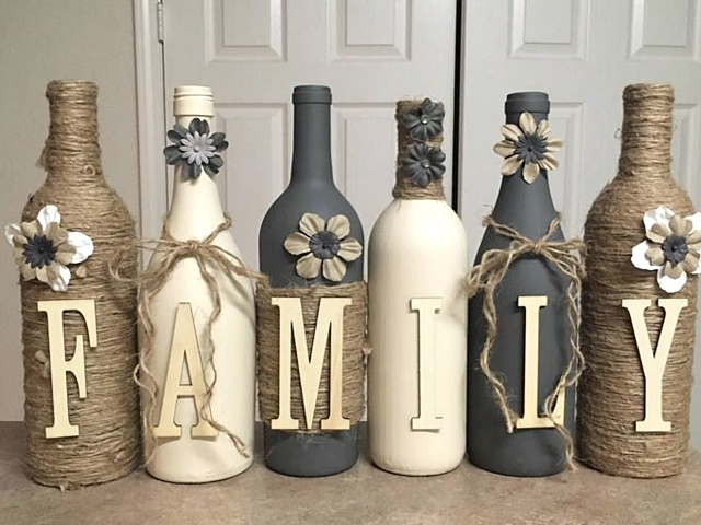 40 diy old wine bottle crafts to try for Decoration with waste bottles