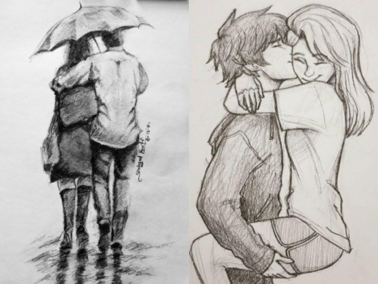 40 Easy And Romantic Couple Drawings And Sketches